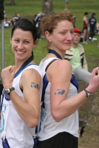 Cap'n Barks and Kate Scarlett showing off the tough MUAC stickers!