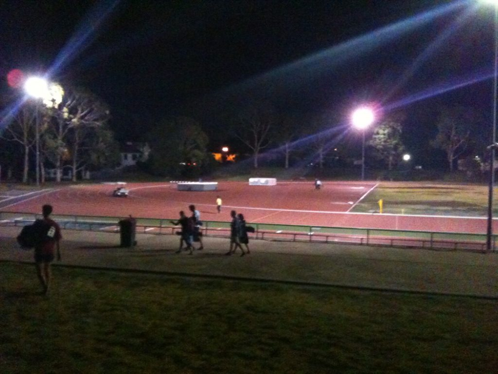 Aberfeldie, 10:55pm.  The excitement of late night athletics.