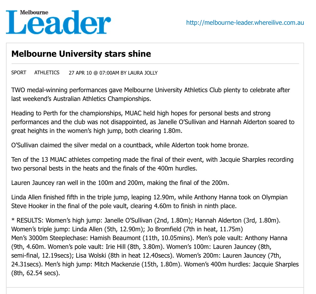 Melbourne University stars shine - Athletics - Sport | Melbourne Leader