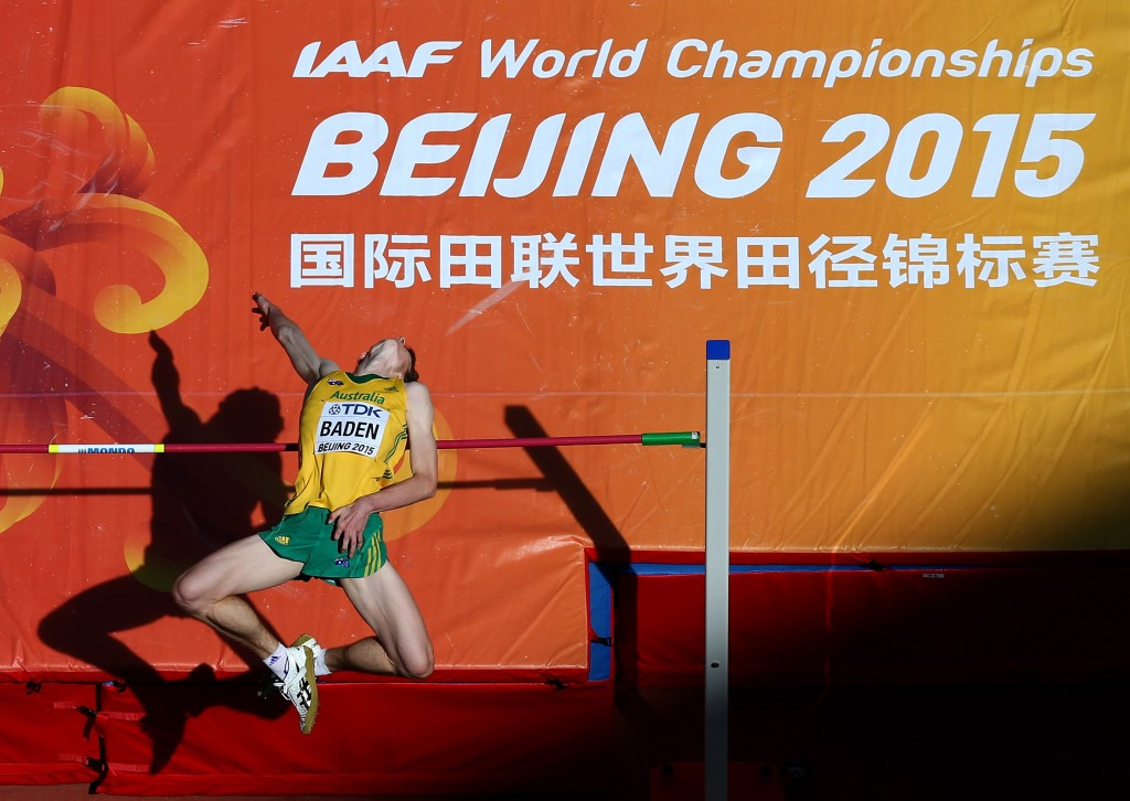 BEIJING, CHINA - AUGUST 28: Joel Baden of Australia competes in the Men's High Jump qualification during day seven of the 15th IAAF World Athletics Championships Beijing 2015 at Beijing National Stadium on August 28, 2015 in Beijing, China. (Photo by Michael Steele/Getty Images)