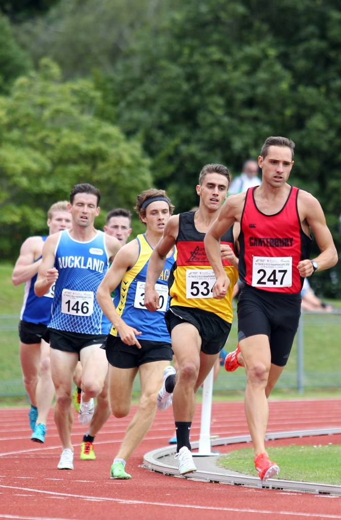 DUNEDIN, NEW ZEALAND - MARCH 05: Brad Mathas of Canterbury leads the field in the Mens 800m Run during the 2016 National Track & Field Championships on March 5, 2016 in Dunedin, New Zealand. (Photo by Rob Jefferies/Getty Images)