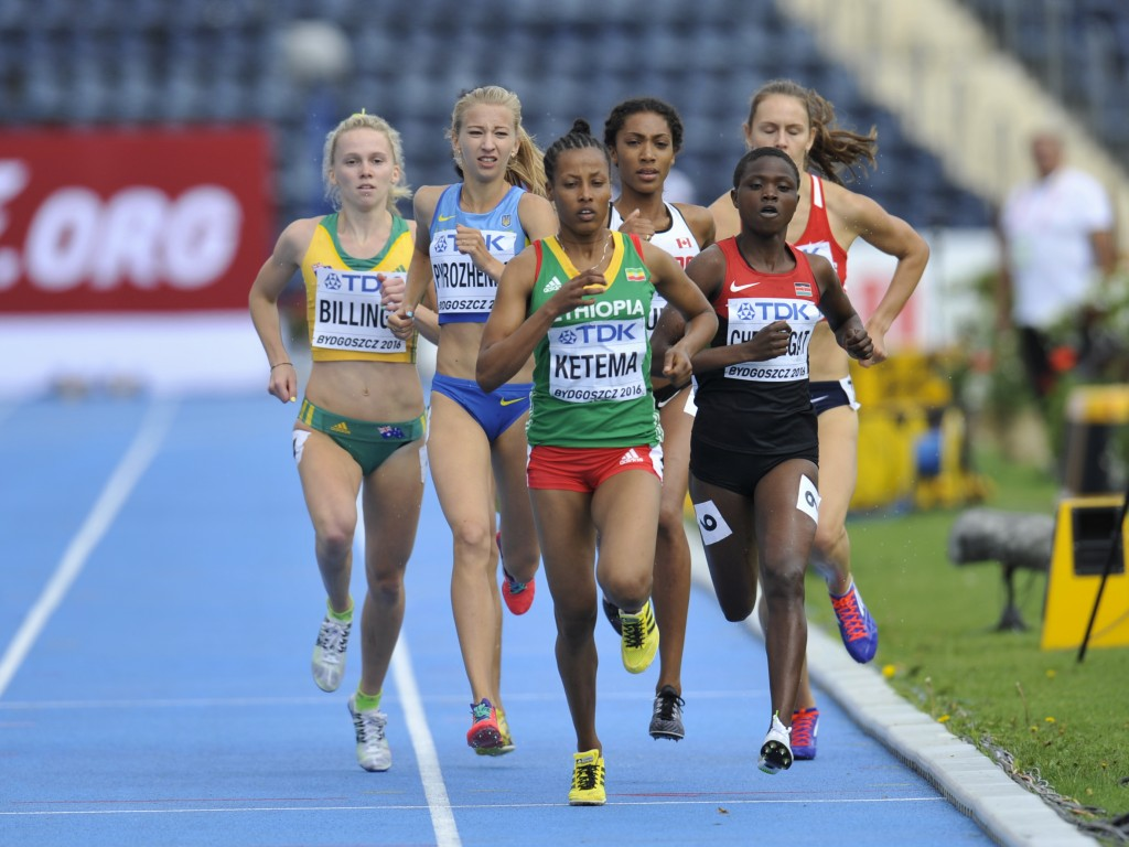 BYDGOSZCZ, POLAND - JULY 19: Tigist Ketema from Ethiopia and Josephine Chelangat from Kenya competes in womenÕs 800 meters during day one of the IAAF World U20 Championships at the Zawisza Stadium on July 19, 2016 in Bydgoszcz, Poland. (Photo by Piotr Hawalej /Getty Images for IAAF)