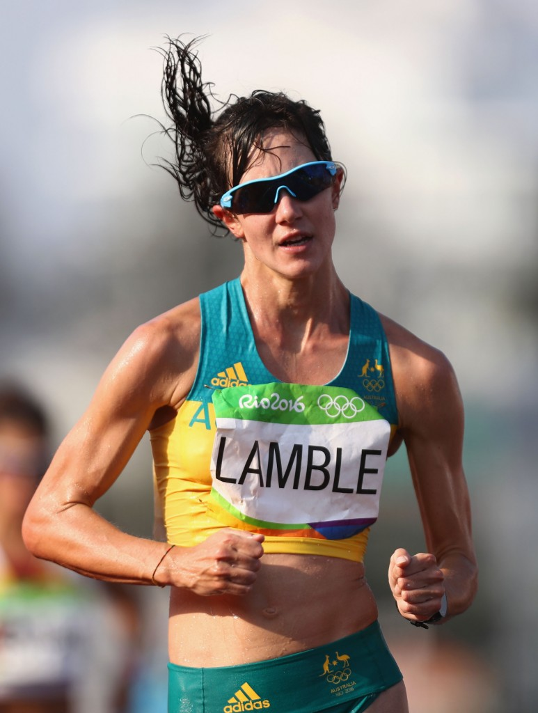 RIO DE JANEIRO, BRAZIL - AUGUST 19: Regan Lamble of Australia competes in the Women's 20km Walk final on Day 14 of the Rio 2016 Olympic Games at Pontal on August 19, 2016 in Rio de Janeiro, Brazil. (Photo by Bryn Lennon/Getty Images)