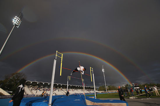 MELBOURNE, AUSTRALIA - DECEMBER 08: A rainbow appears as a female athlete competes in the Steve Hooker Pole Vault Challenge during the Zatopek 10 Australian 10,000m Championships on December 8, 2016 in Melbourne, Australia. (Photo by Michael Dodge/Getty Images)